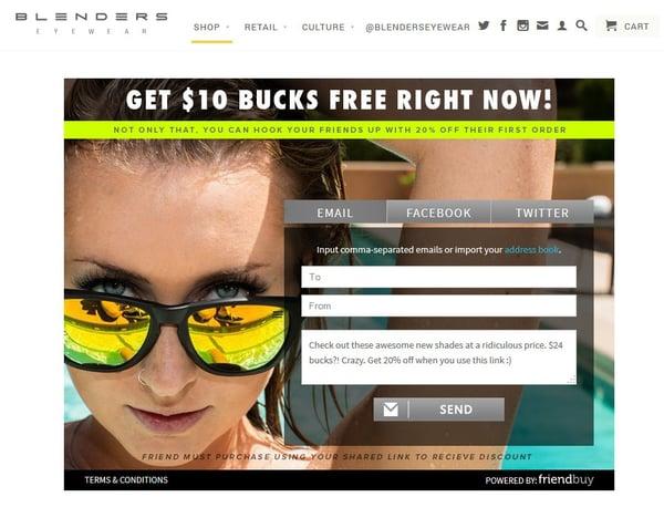 Blenders Eyewear referral widget