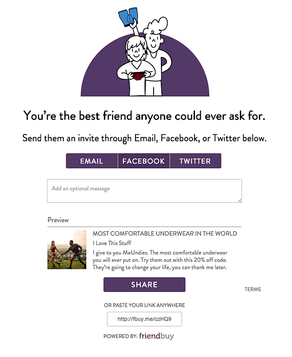 meundies invite a friend page