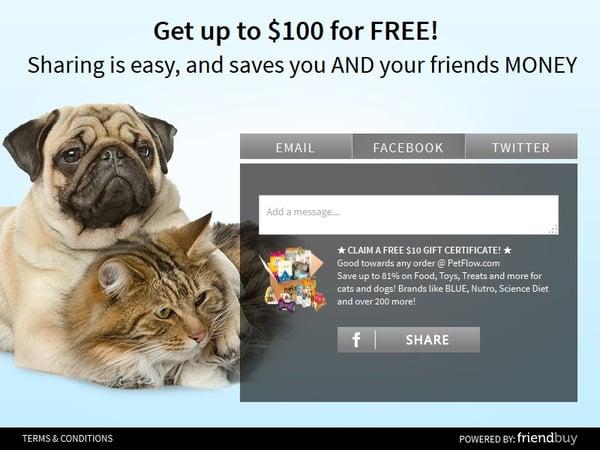 PetFlow referral incentive