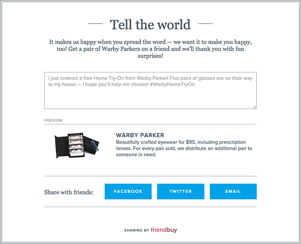 Warby Parker Home Try On Sharing
