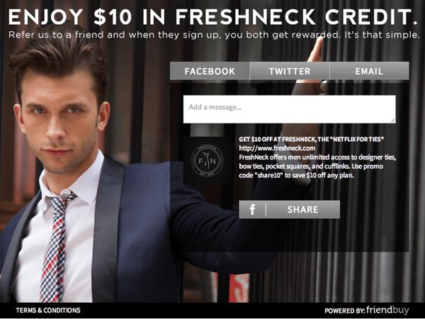 freshneck referral campaign